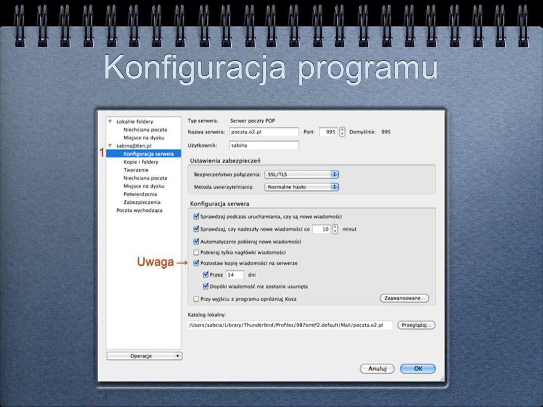 Konfiguracja programu Uwaga 1 1