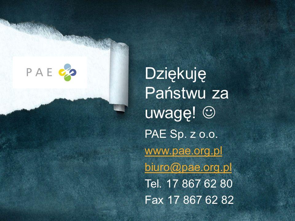 Dziękuję Państwu za uwagę! PAE Sp. z o.o. www.pae.org.pl biuro@pae.org.pl Tel. 17 867 62 80 Fax 17 867 62 82