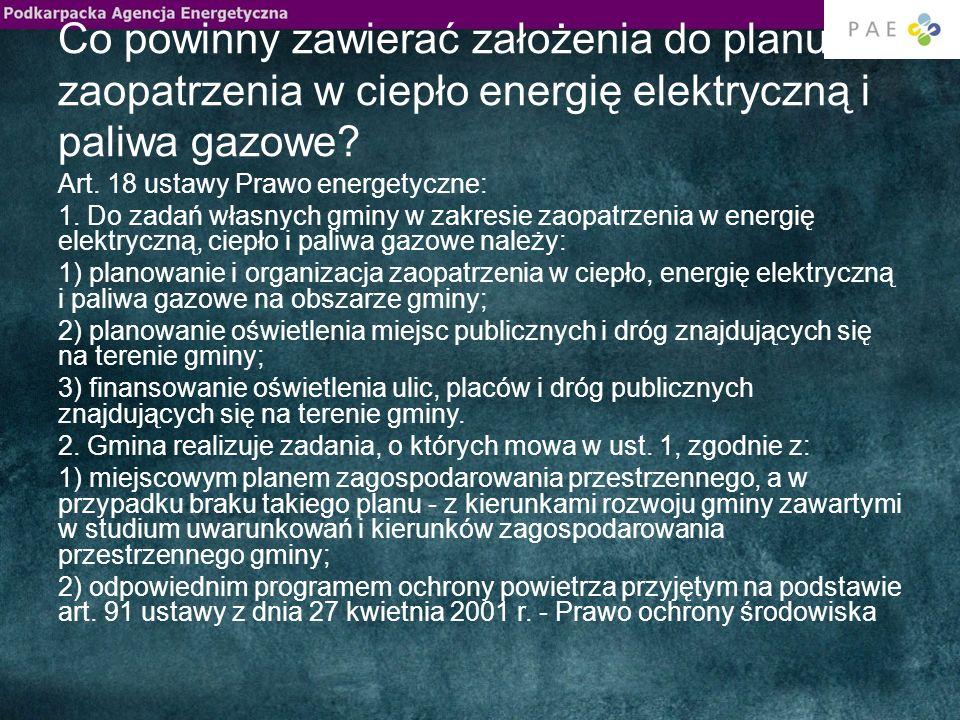 Co powinny zawierać założenia do planu zaopatrzenia w ciepło energię elektryczną i paliwa gazowe? Art. 18 ustawy Prawo energetyczne: 1. Do zadań własn
