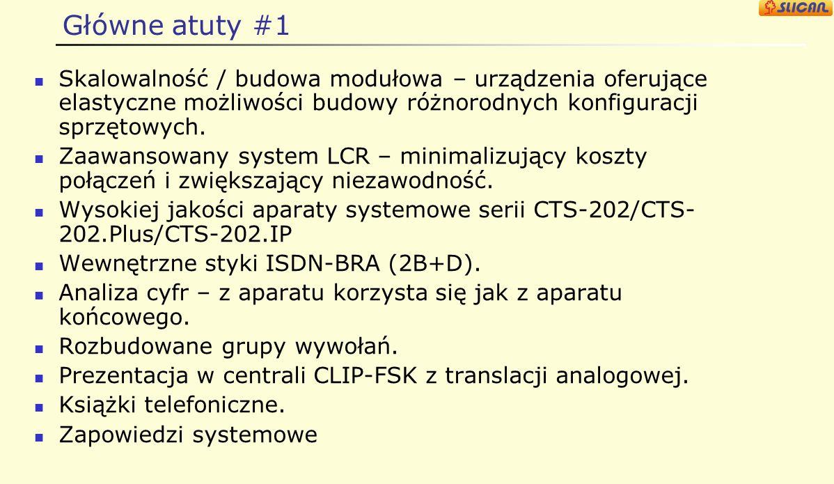 Cechy serwera Slican MAC-6400 – pojemności/max. Nazwa interfejsuNa półkęNa system Porty AB (kart/portów)10/16040/640 ISDN-PRA (2B+D)* S 0 (portów) 80
