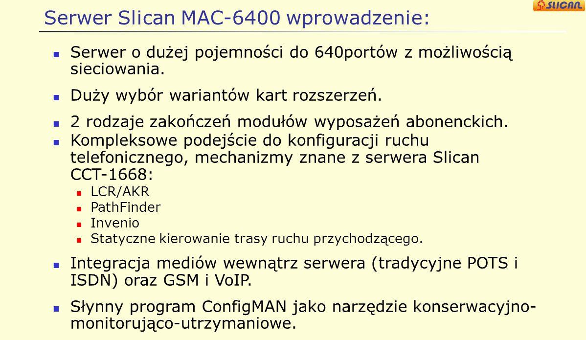 Cel prezentacji Poznanie budowy i cech serwera Slican MAC-6400. Zdobycie umiejętności niezbędnych dla przygotowania oferty
