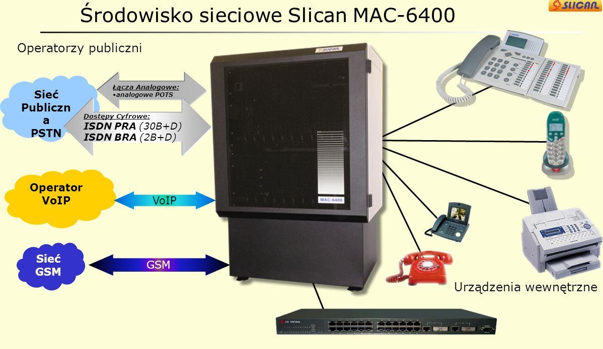 Serwer Slican MAC-6400 wprowadzenie: Serwer o dużej pojemności do 640portów z możliwością sieciowania. Duży wybór wariantów kart rozszerzeń. 2 rodzaje