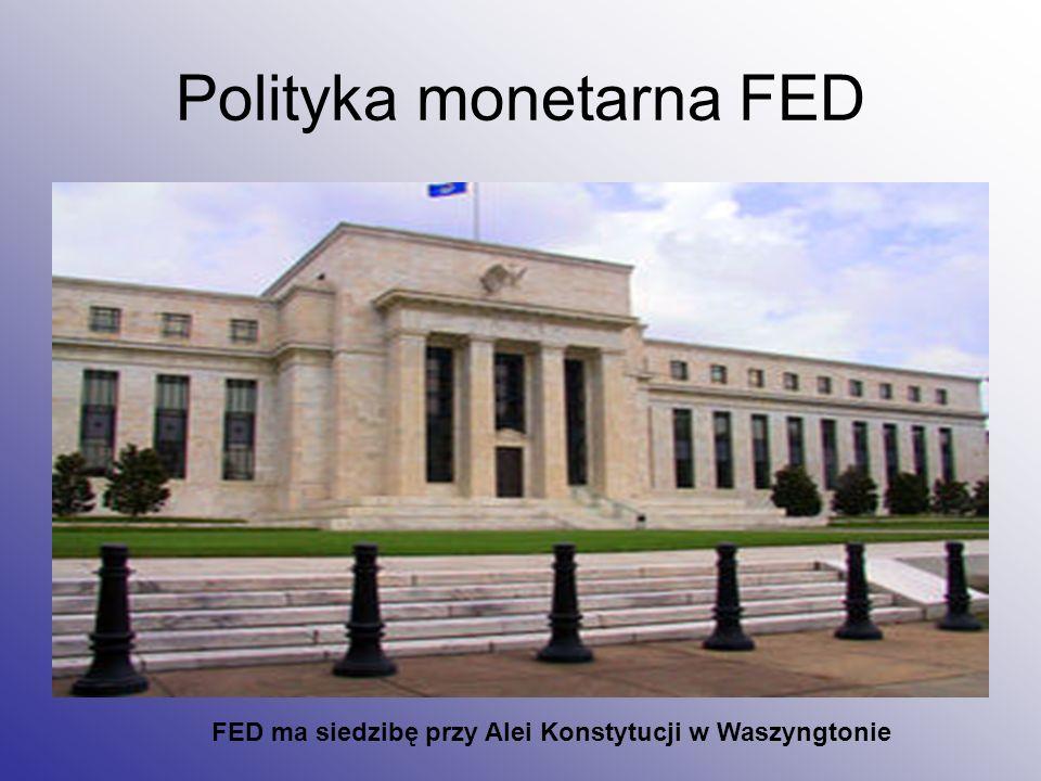 Narzędzia polityki monetarnej FED Narzędzia używane obecnie: operacje otwartego rynku; redyskonto weksli i określenie stopy redyskontowej; rezerwy obowiązkowe; operacje na rynku walutowym.