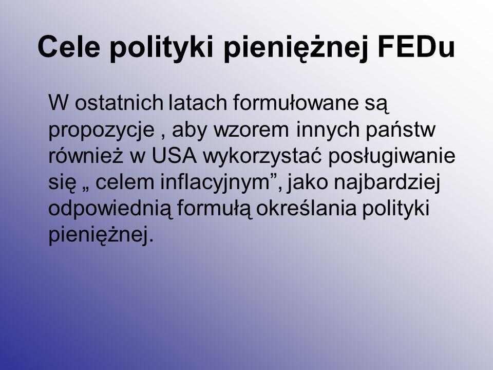 Cele polityki pieniężnej FEDu W ostatnich latach formułowane są propozycje, aby wzorem innych państw również w USA wykorzystać posługiwanie się celem