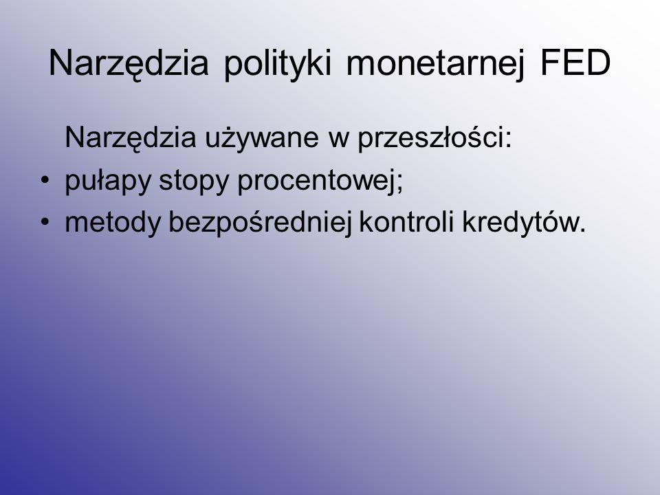 Narzędzia polityki monetarnej FED Narzędzia używane w przeszłości: pułapy stopy procentowej; metody bezpośredniej kontroli kredytów.