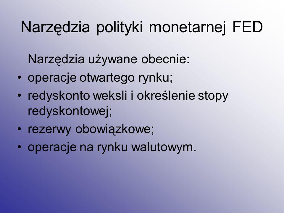 Narzędzia polityki monetarnej FED Narzędzia używane obecnie: operacje otwartego rynku; redyskonto weksli i określenie stopy redyskontowej; rezerwy obo