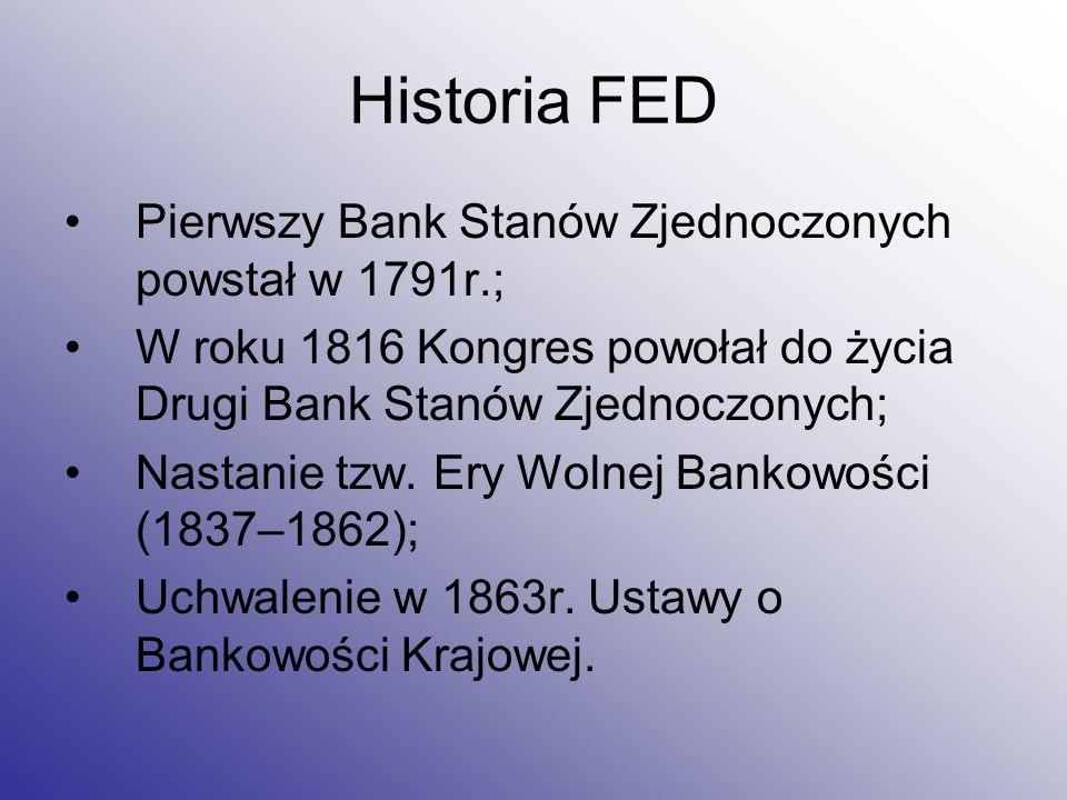 Historia FED Pierwszy Bank Stanów Zjednoczonych powstał w 1791r.; W roku 1816 Kongres powołał do życia Drugi Bank Stanów Zjednoczonych; Nastanie tzw.