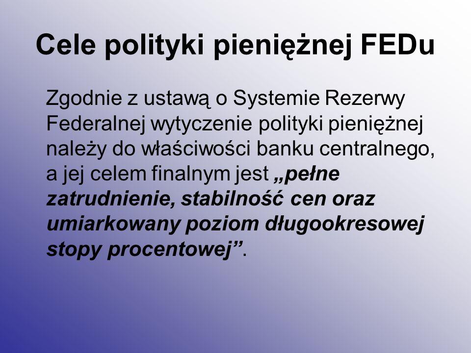 Cele polityki pieniężnej FEDu Zgodnie z ustawą o Systemie Rezerwy Federalnej wytyczenie polityki pieniężnej należy do właściwości banku centralnego, a