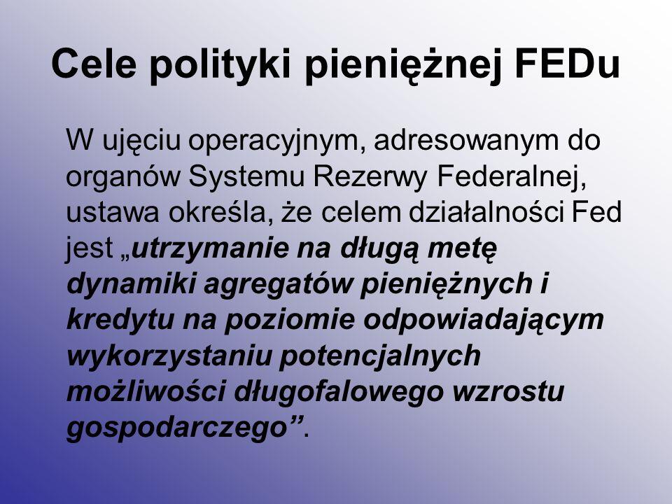 Cele polityki pieniężnej FEDu W ostatnich latach formułowane są propozycje, aby wzorem innych państw również w USA wykorzystać posługiwanie się celem inflacyjnym, jako najbardziej odpowiednią formułą określania polityki pieniężnej.
