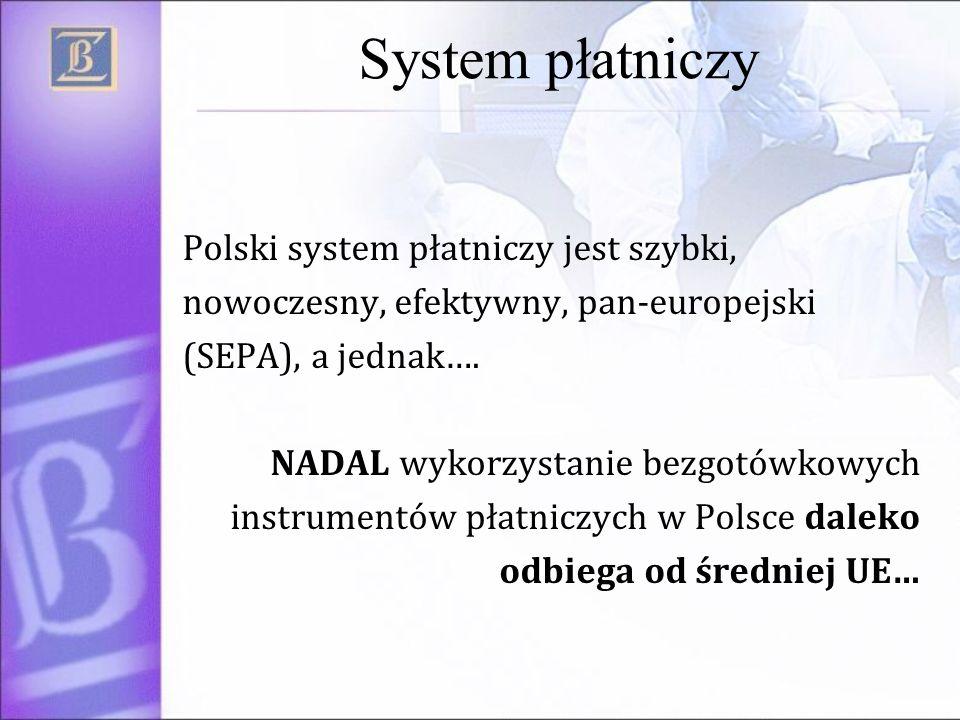 System płatniczy Polski system płatniczy jest szybki, nowoczesny, efektywny, pan-europejski (SEPA), a jednak…. NADAL wykorzystanie bezgotówkowych inst