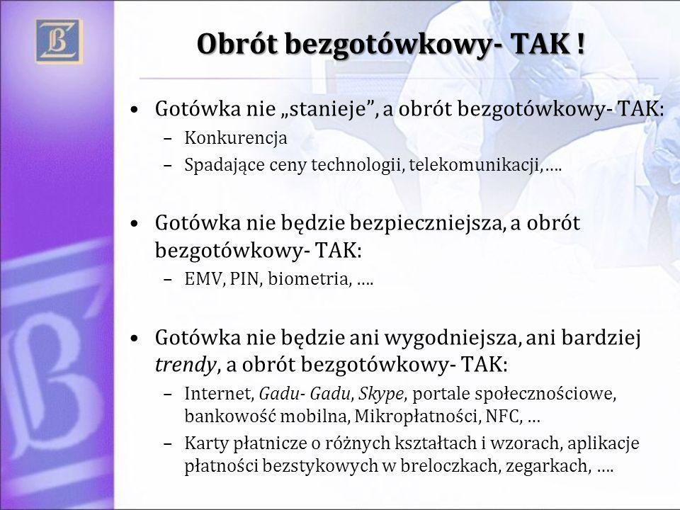 Obrót bezgotówkowy- TAK ! Gotówka nie stanieje, a obrót bezgotówkowy- TAK: –Konkurencja –Spadające ceny technologii, telekomunikacji,…. Gotówka nie bę