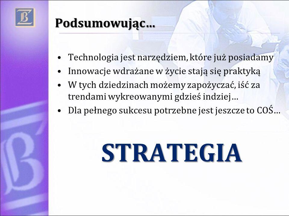 Podsumowując… Technologia jest narzędziem, które już posiadamy Innowacje wdrażane w życie stają się praktyką W tych dziedzinach możemy zapożyczać, iść