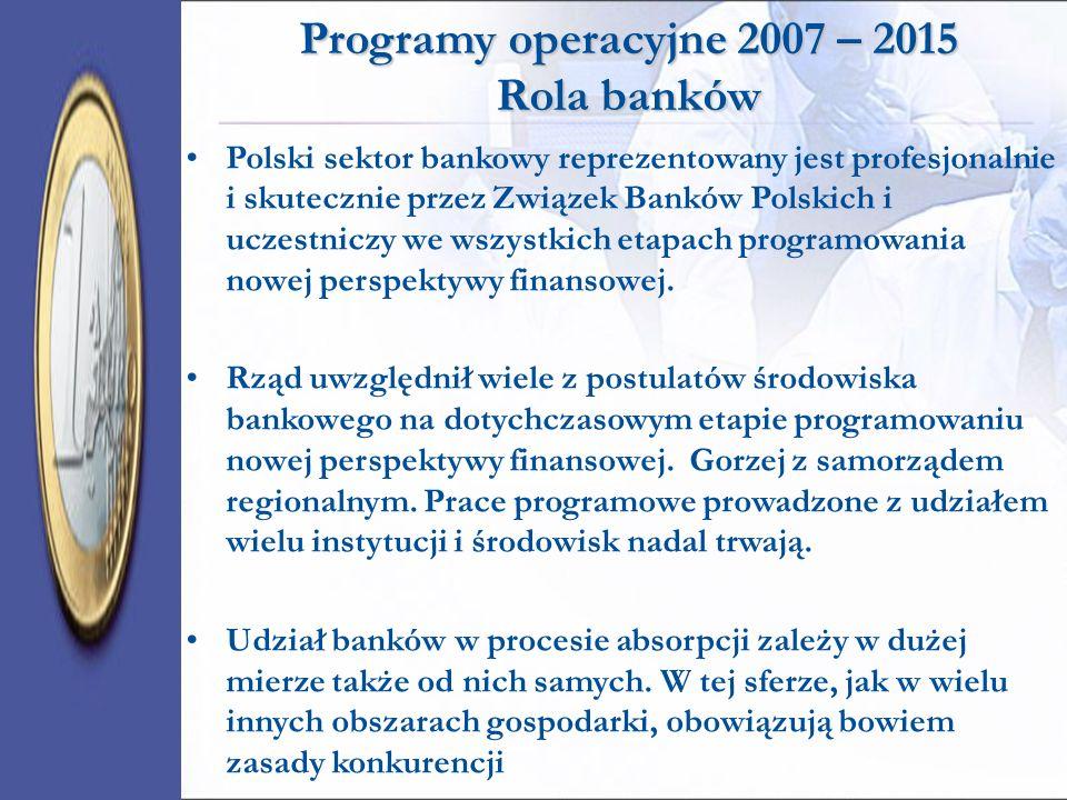 Programy operacyjne 2007 – 2015 Rola banków Polski sektor bankowy reprezentowany jest profesjonalnie i skutecznie przez Związek Banków Polskich i ucze
