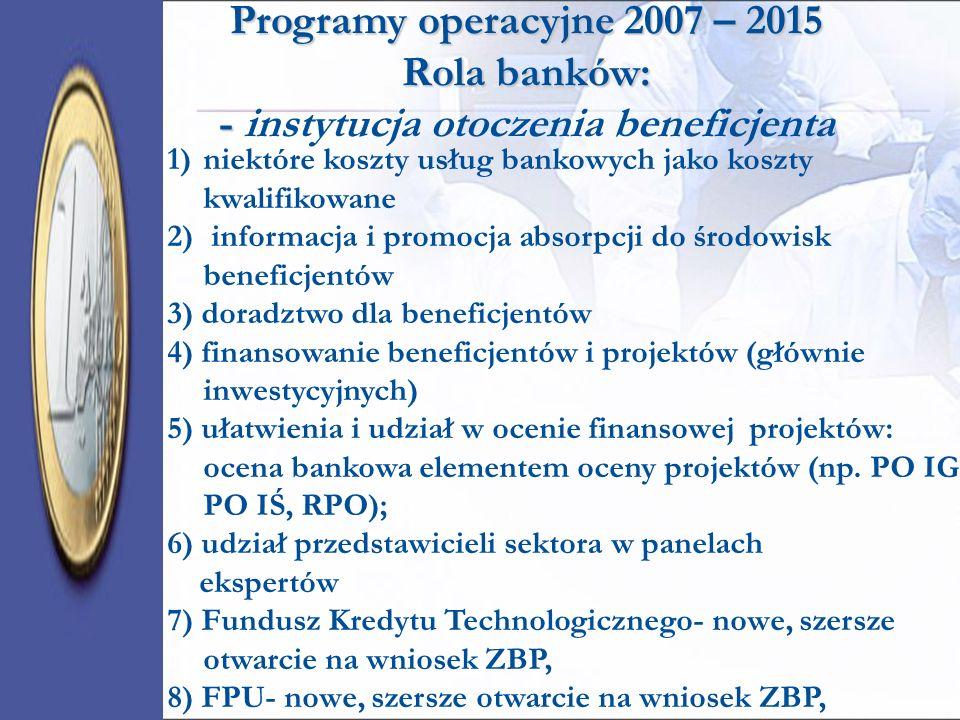 1)niektóre koszty usług bankowych jako koszty kwalifikowane 2) informacja i promocja absorpcji do środowisk beneficjentów 3) doradztwo dla beneficjent
