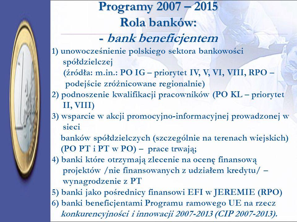 Programy 2007 – 2015 Rola banków: - Programy 2007 – 2015 Rola banków: - bank beneficjentem 1) unowocześnienie polskiego sektora bankowości spółdzielcz