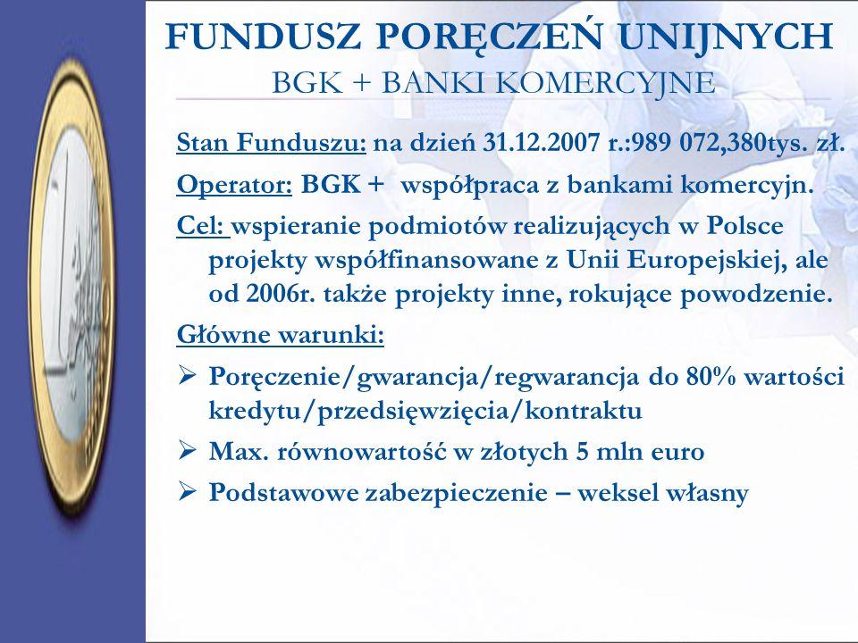 FUNDUSZ PORĘCZEŃ UNIJNYCH BGK + BANKI KOMERCYJNE Stan Funduszu: na dzień 31.12.2007 r.:989 072,380tys. zł. Operator: BGK + współpraca z bankami komerc