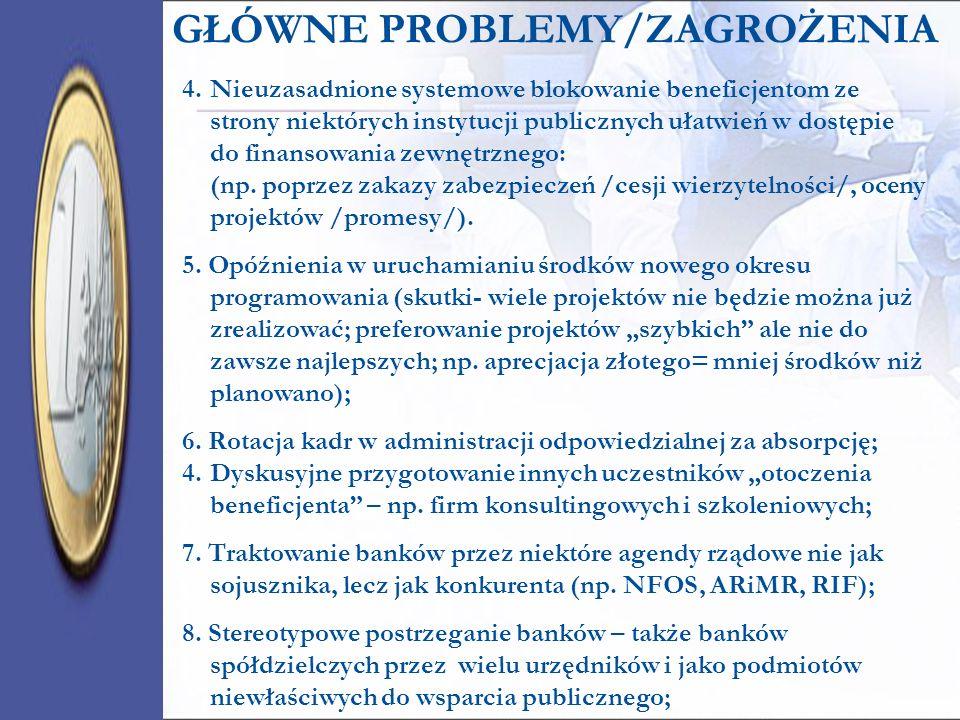 GŁÓWNE PROBLEMY/ZAGROŻENIA 4.Nieuzasadnione systemowe blokowanie beneficjentom ze strony niektórych instytucji publicznych ułatwień w dostępie do fina