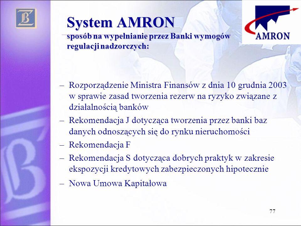 System AMRON sposób na wypełnianie przez Banki wymogów regulacji nadzorczych: –Rozporządzenie Ministra Finansów z dnia 10 grudnia 2003 w sprawie zasad