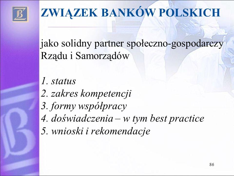 ZWIĄZEK BANKÓW POLSKICH jako solidny partner społeczno-gospodarczy Rządu i Samorządów 1. status 2. zakres kompetencji 3. formy współpracy 4. doświadcz