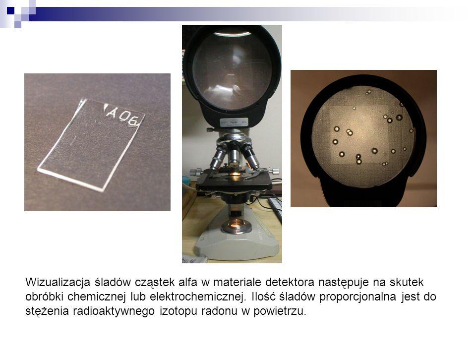 Wizualizacja śladów cząstek alfa w materiale detektora następuje na skutek obróbki chemicznej lub elektrochemicznej. Ilość śladów proporcjonalna jest