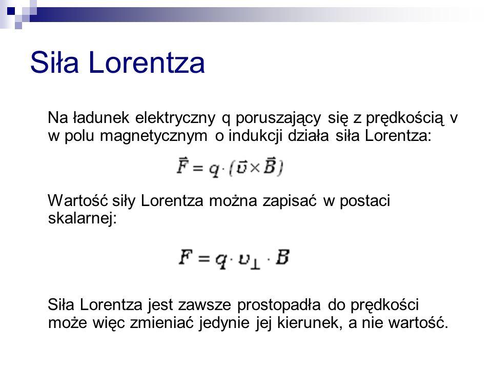 Siła Lorentza Na ładunek elektryczny q poruszający się z prędkością v w polu magnetycznym o indukcji działa siła Lorentza: Wartość siły Lorentza można