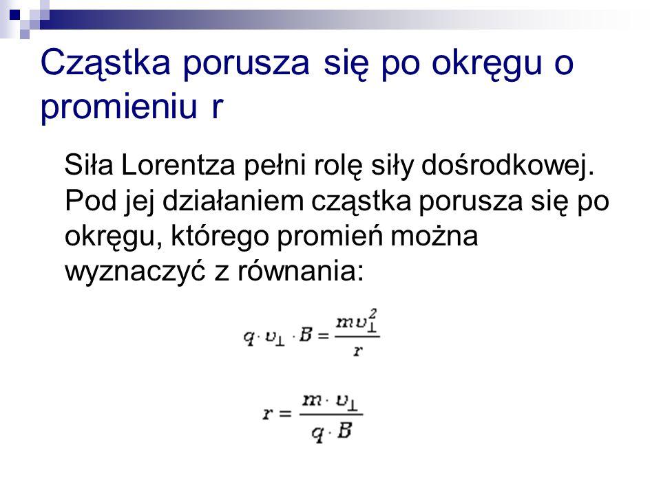 Cząstka porusza się po okręgu o promieniu r Siła Lorentza pełni rolę siły dośrodkowej. Pod jej działaniem cząstka porusza się po okręgu, którego promi