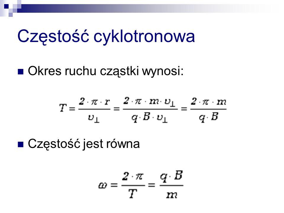 Częstość cyklotronowa Okres ruchu cząstki wynosi: Częstość jest równa