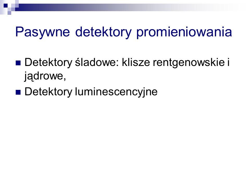 Pasywne detektory promieniowania Detektory śladowe: klisze rentgenowskie i jądrowe, Detektory luminescencyjne