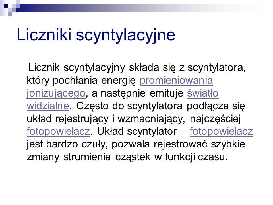 Liczniki scyntylacyjne Licznik scyntylacyjny składa się z scyntylatora, który pochłania energię promieniowania jonizującego, a następnie emituje świat