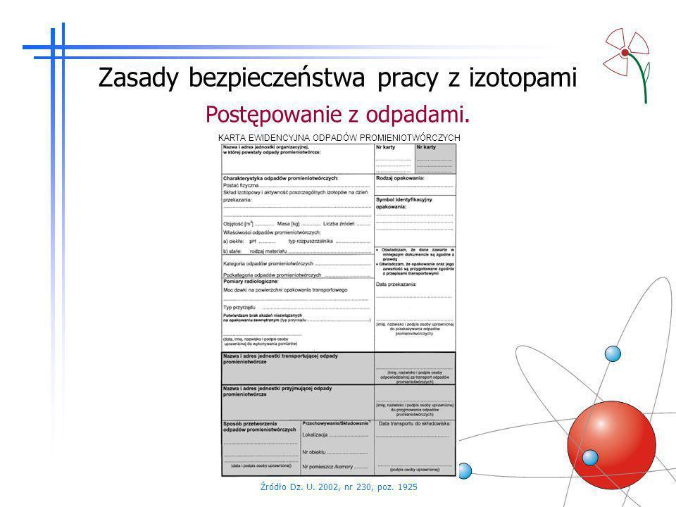 Zasady bezpieczeństwa pracy z izotopami Postępowanie z odpadami. Źródło Dz. U. 2002, nr 230, poz. 1925 KARTA EWIDENCYJNA ODPADÓW PROMIENIOTWÓRCZYCH