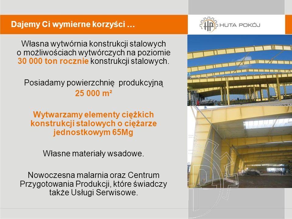 Własna wytwórnia konstrukcji stalowych o możliwościach wytwórczych na poziomie 30 000 ton rocznie konstrukcji stalowych. Posiadamy powierzchnię produk