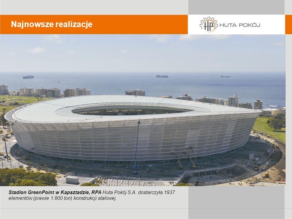 Najnowsze realizacje Stadion GreenPoint w Kapsztadzie, RPA Huta Pokój S.A. dostarczyła 1937 elementów (prawie 1.800 ton) konstrukcji stalowej.