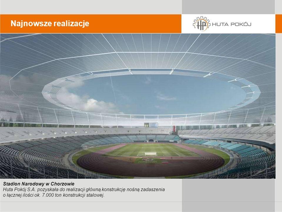 Stadion Narodowy w Chorzowie Huta Pokój S.A. pozyskała do realizacji główną konstrukcję nośną zadaszenia o łącznej ilości ok. 7.000 ton konstrukcji st