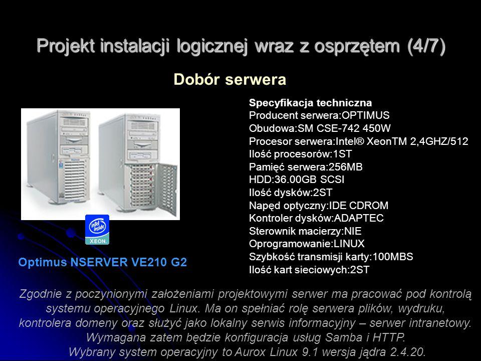 Projekt instalacji logicznej wraz z osprzętem (4/7) Dobór serwera Optimus NSERVER VE210 G2 Specyfikacja techniczna Producent serwera:OPTIMUS Obudowa:S