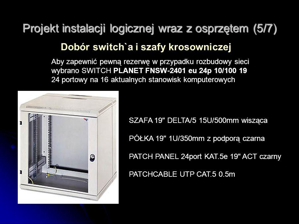 Projekt instalacji logicznej wraz z osprzętem (5/7) Dobór switch`a i szafy krosowniczej Aby zapewnić pewną rezerwę w przypadku rozbudowy sieci wybrano