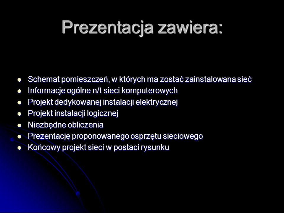 Prezentacja zawiera: Schemat pomieszczeń, w których ma zostać zainstalowana sieć Schemat pomieszczeń, w których ma zostać zainstalowana sieć Informacj