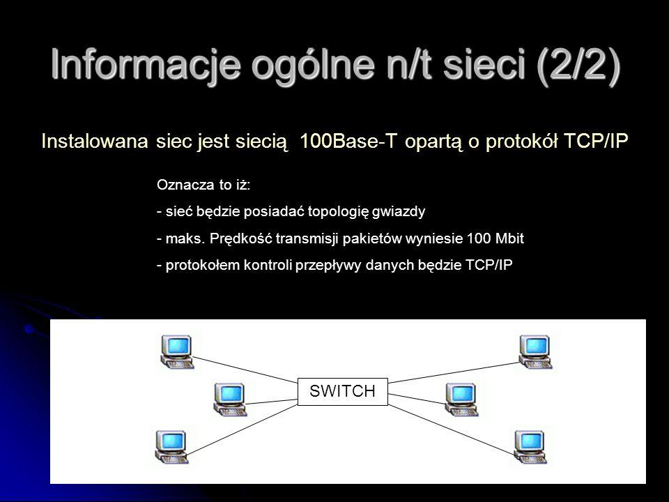 Informacje ogólne n/t sieci (2/2) Instalowana siec jest siecią 100Base-T opartą o protokół TCP/IP Oznacza to iż: - sieć będzie posiadać topologię gwia