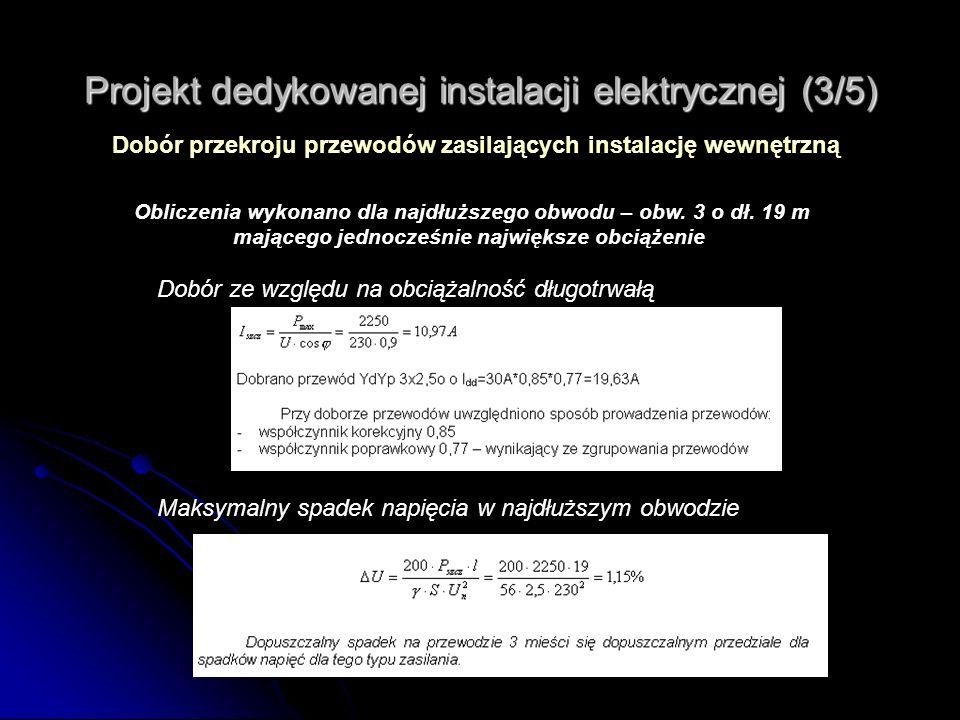 Projekt dedykowanej instalacji elektrycznej (3/5) Dobór przekroju przewodów zasilających instalację wewnętrzną Obliczenia wykonano dla najdłuższego ob