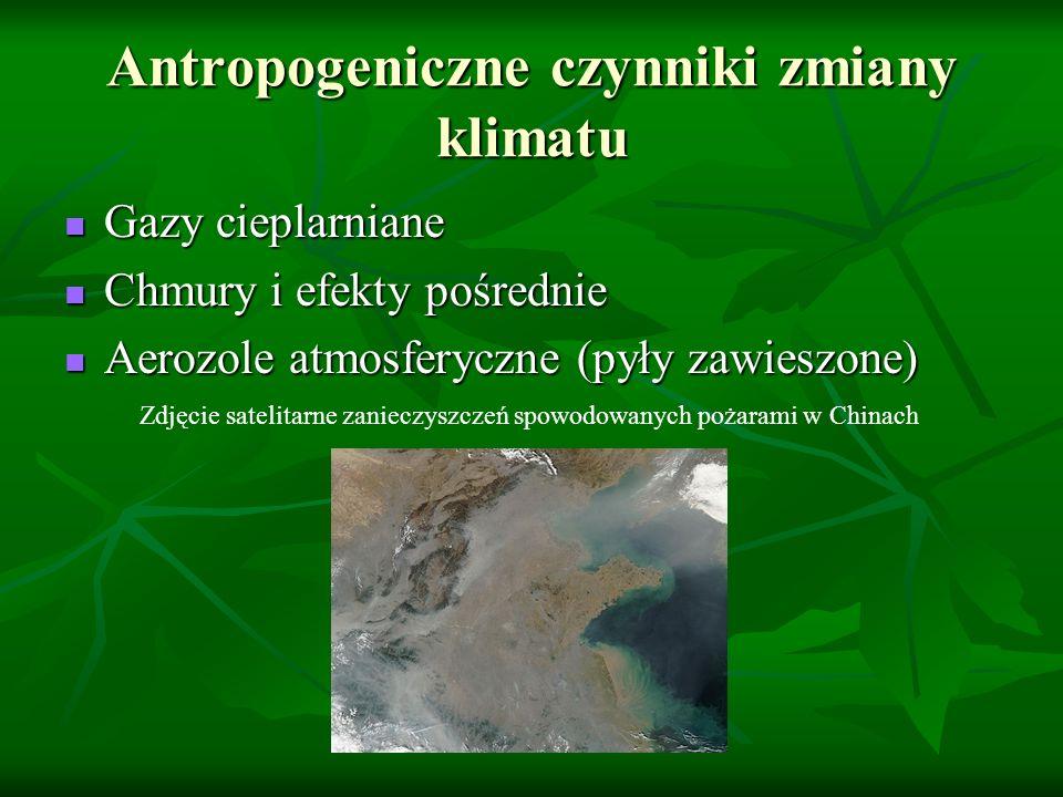 Antropogeniczne czynniki zmiany klimatu Gazy cieplarniane Chmury i efekty pośrednie Aerozole atmosferyczne (pyły zawieszone) Zdjęcie satelitarne zanie