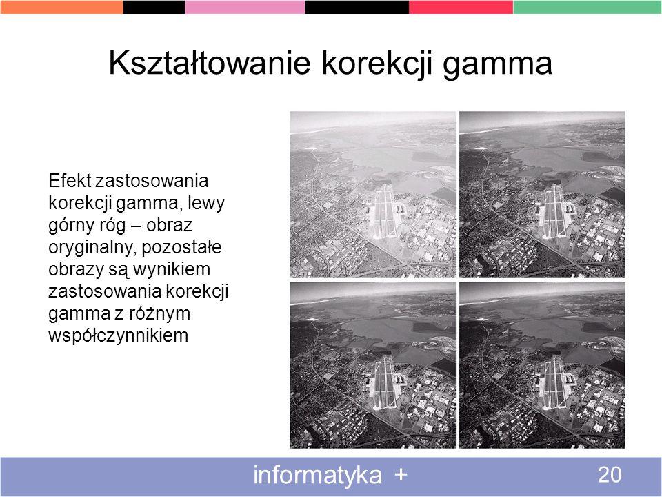 Kształtowanie korekcji gamma informatyka + 20 Efekt zastosowania korekcji gamma, lewy górny róg – obraz oryginalny, pozostałe obrazy są wynikiem zasto