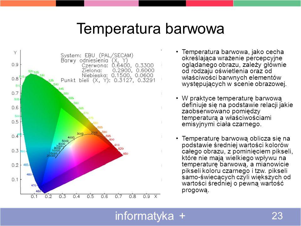 Temperatura barwowa informatyka + 23 Temperatura barwowa, jako cecha określająca wrażenie percepcyjne oglądanego obrazu, zależy głównie od rodzaju ośw