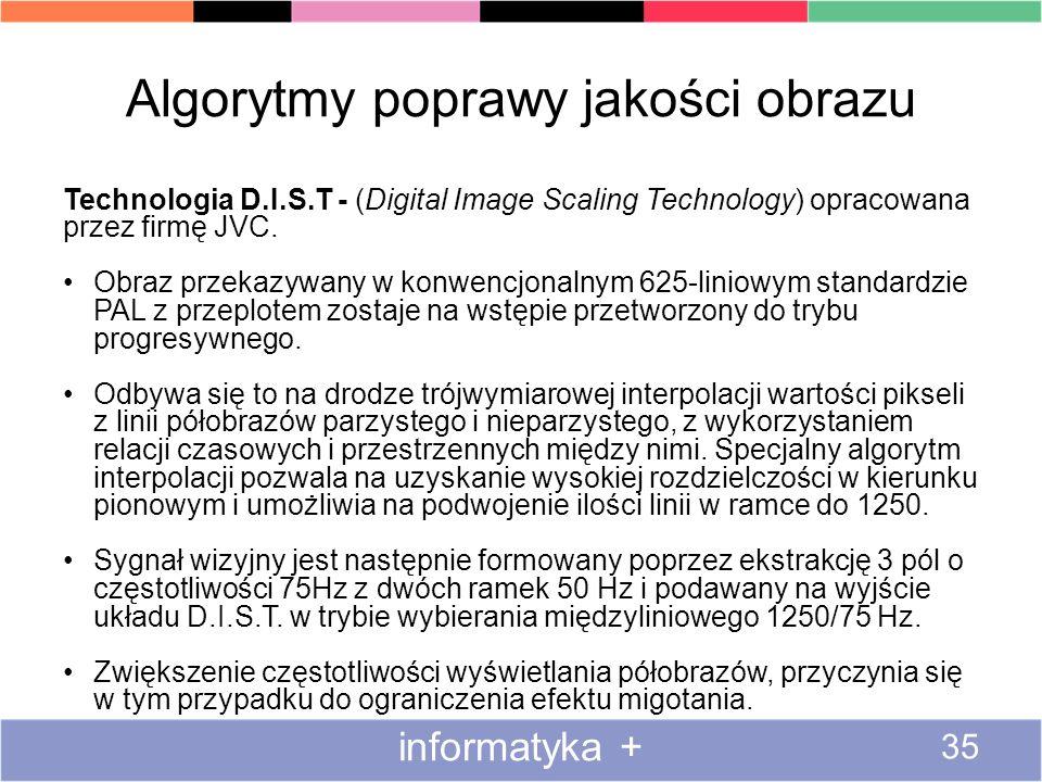 Algorytmy poprawy jakości obrazu Technologia D.I.S.T - (Digital Image Scaling Technology) opracowana przez firmę JVC. Obraz przekazywany w konwencjona