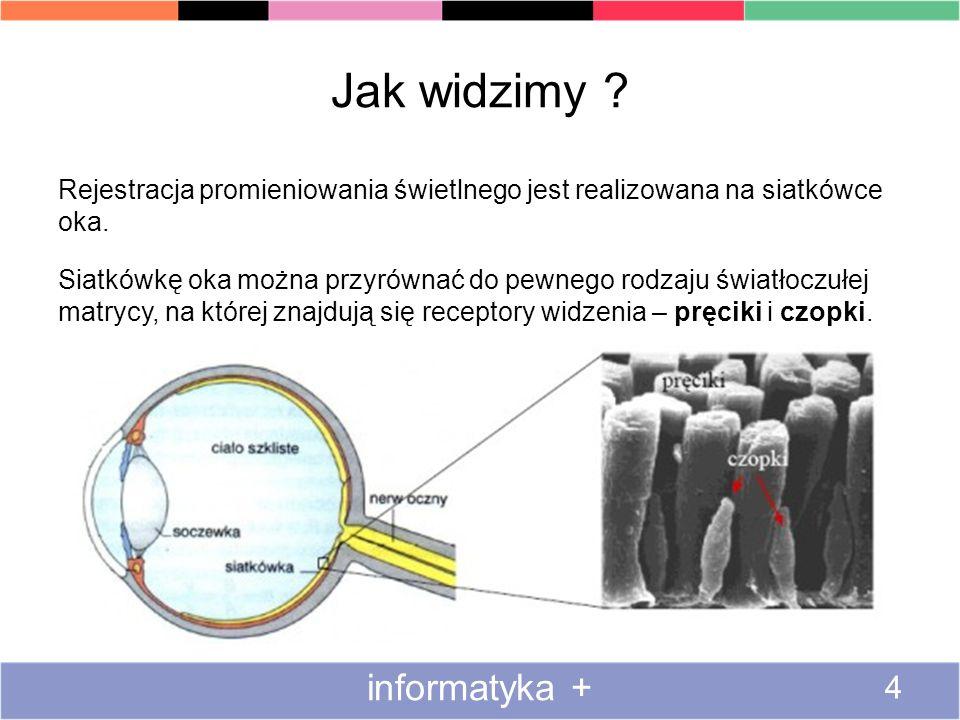 Jak widzimy ? Rejestracja promieniowania świetlnego jest realizowana na siatkówce oka. Siatkówkę oka można przyrównać do pewnego rodzaju światłoczułej