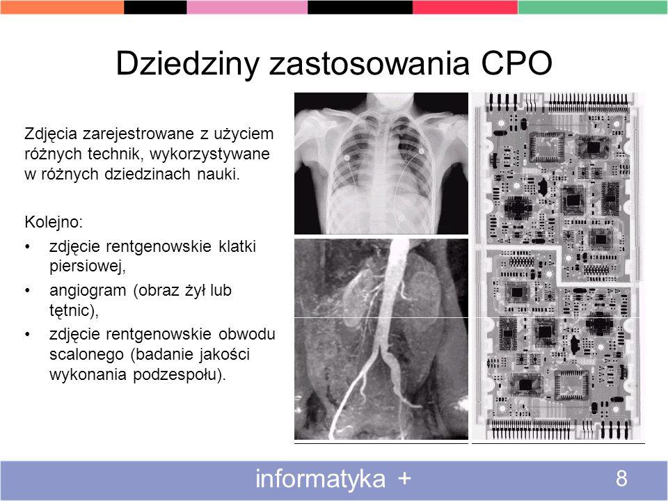 Dziedziny zastosowania CPO Zdjęcia zarejestrowane z użyciem różnych technik, wykorzystywane w różnych dziedzinach nauki. Kolejno: zdjęcie rentgenowski