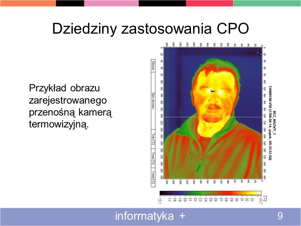 Dziedziny zastosowania CPO Przykład obrazu zarejestrowanego przenośną kamerą termowizyjną. informatyka + 9