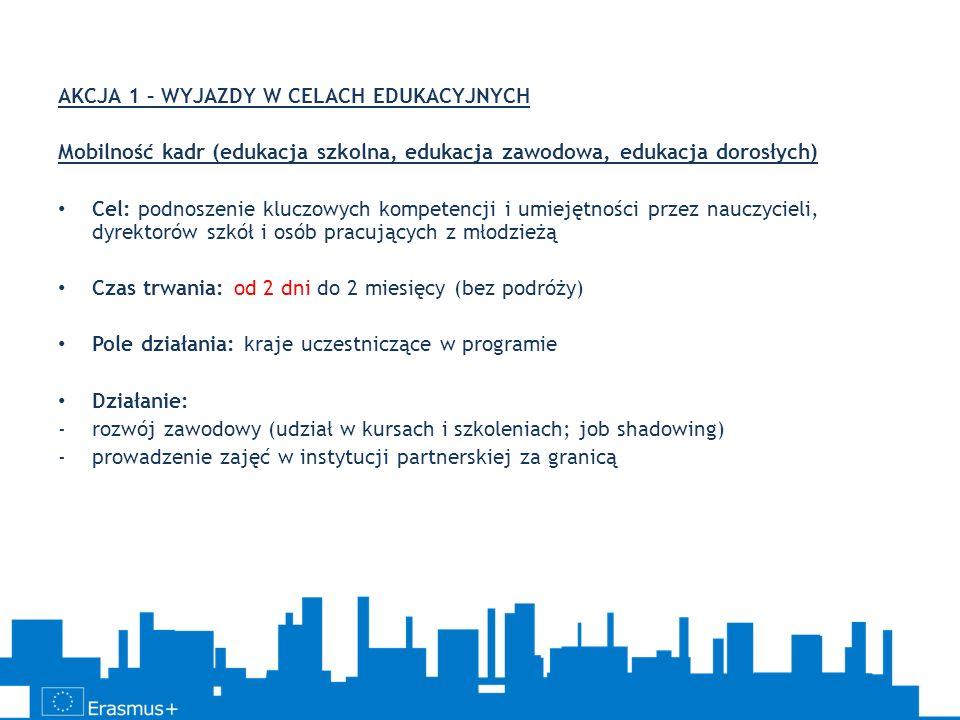 AKCJA 1 – WYJAZDY W CELACH EDUKACYJNYCH Mobilność kadr (edukacja szkolna, edukacja zawodowa, edukacja dorosłych) Cel: podnoszenie kluczowych kompetenc