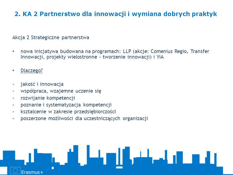 Akcja 2 Strategiczne partnerstwa nowa inicjatywa budowana na programach: LLP (akcje: Comenius Regio, Transfer Innowacji, projekty wielostronne – tworz