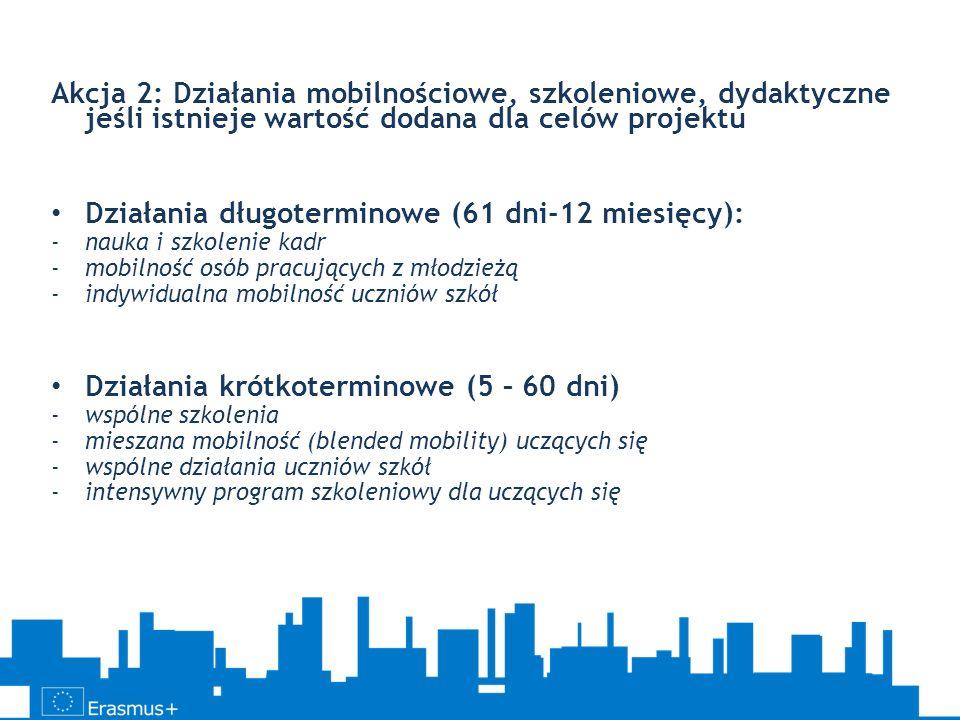 Akcja 2: Działania mobilnościowe, szkoleniowe, dydaktyczne jeśli istnieje wartość dodana dla celów projektu Działania długoterminowe (61 dni-12 miesię