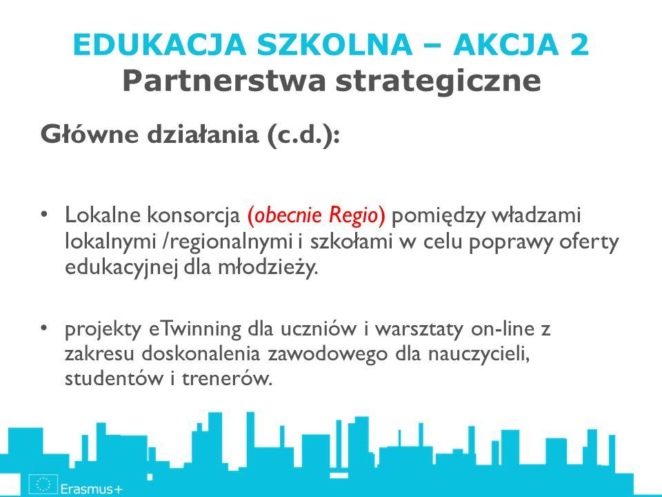 EDUKACJA SZKOLNA – AKCJA 2 Partnerstwa strategiczne Główne działania (c.d.): Lokalne konsorcja (obecnie Regio) pomiędzy władzami lokalnymi /regionalny