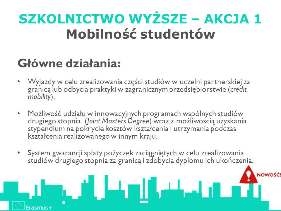 SZKOLNICTWO WYŻSZE – AKCJA 1 Mobilność studentów Główne działania: Wyjazdy w celu zrealizowania części studiów w uczelni partnerskiej za granicą lub o